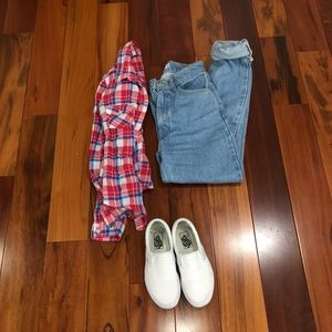 Plaid Red, White, and Blue Long sleeve shirt